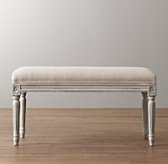 Antoinette Upholstered Bench - Aged White