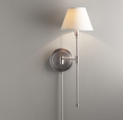 ellis swing arm sconce with shade antique pewter