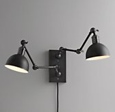 Double Swing-Arm Tipton Sconce Black