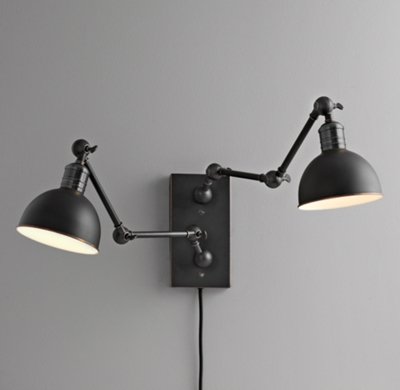 Wall Sconces And Matching Chandeliers : Double Swing-Arm Tipton Sconce - Black