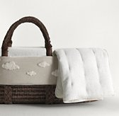 Bouclé Cloud Moses Basket Bedding & Espresso Basket Set