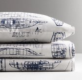 Vintage Sailboat Blueprint Standard Pillowcase