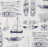Vintage Sailboat Blueprint Bedding Swatch