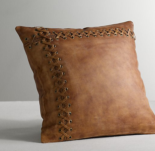 Decorative Pillows For A Leather Couch : Leather Catcher's Mitt Decorative Pillow Cover
