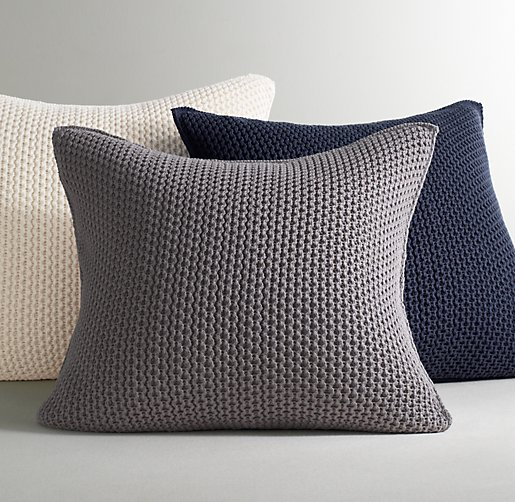 Knitting Pillow Cover : Chunky cotton knit pillow cover