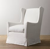 Wingback Slipcovered Swivel Glider