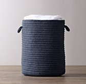Braided Wool Hamper - Navy