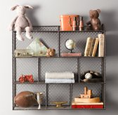 Large Vintage Wire Cubby Shelf - Zinc