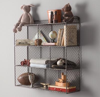 Large Vintage Wire Cubby Shelf - Zinc