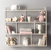 Large Vintage Wire Cubby Shelf - White