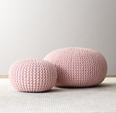 Knit Cotton Round Pouf - Petal