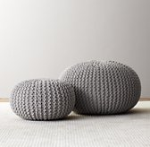 Knit Cotton Round Pouf - Dove