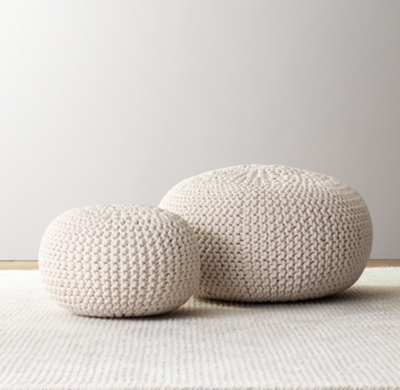 Knit Cotton Round Pouf - Natural