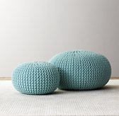 Knit Cotton Round Pouf - Aqua