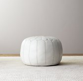 Moroccan Leather Round Pouf