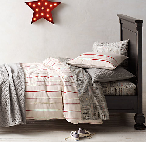 Free Shipping Vintage Baseball Stripe Ticket Bedding Collection