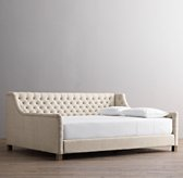 Devyn Tufted Upholstered Daybed with weathered oak leg