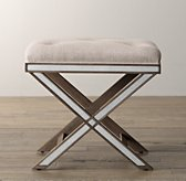 Delaney Mirrored Stool - Weathered Grey