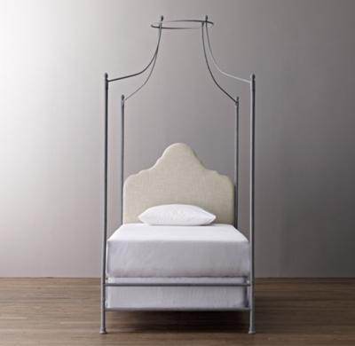& Allegra Iron Canopy Bed - Sand Belgian Linen