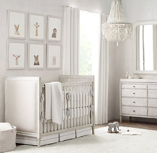 Marcelle Upholstered Crib Vintage Grey