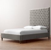 Taryn Tufted Velvet Bed - Weathered Oak