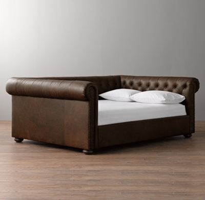 - Chesterfield Tufted Leather Daybed