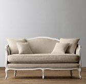 "64"" Ondine Upholstered Salon Bench - Aged White"