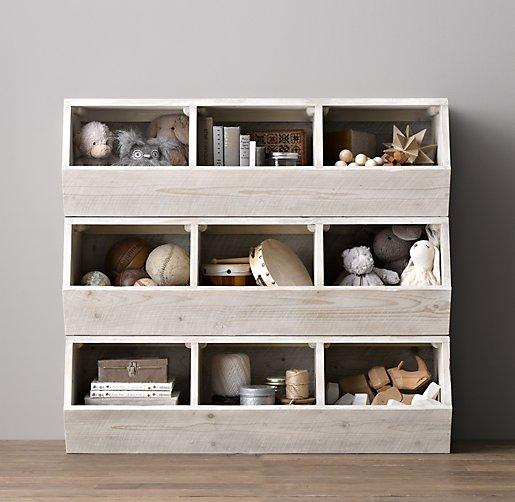 Soft White Kids Toy Chest Wood Box Bin Storage Organizer: Mercantile Stacking Bins