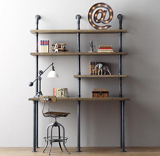 Industrial pipe single desk shelving for Industrial pipe desk