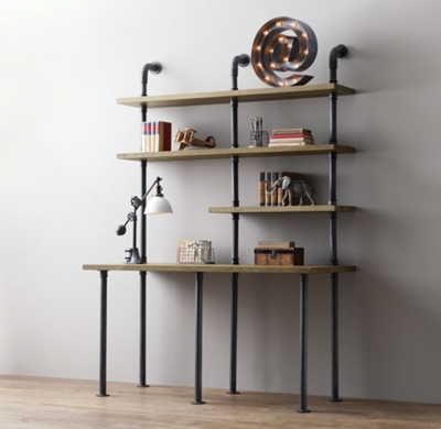 - Industrial Pipe Single Desk & Shelving