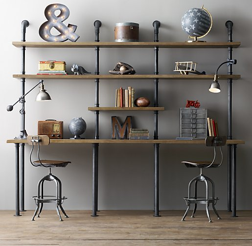 Industrial pipe double desk with shelving for Decoration murale industrielle