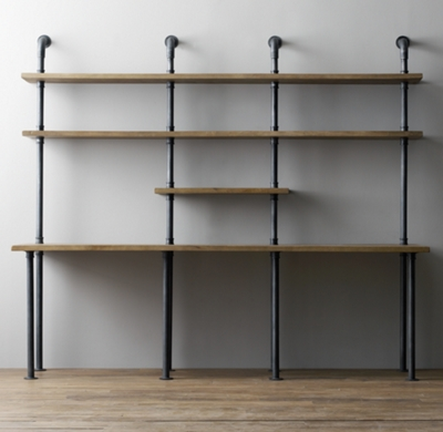 Industrial pipe double desk with shelving for Industrial pipe desk