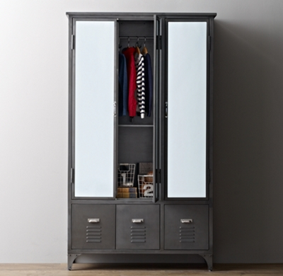 vintage locker mirrored armoire. Black Bedroom Furniture Sets. Home Design Ideas