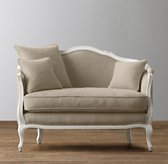 "47"" Ondine Upholstered Salon Bench - Aged White"