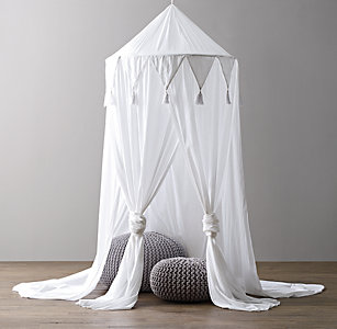 Cotton Voile Play Canopy White