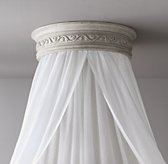 Vintage Grey Carved Wood Canopy Ceiling Bed Crown