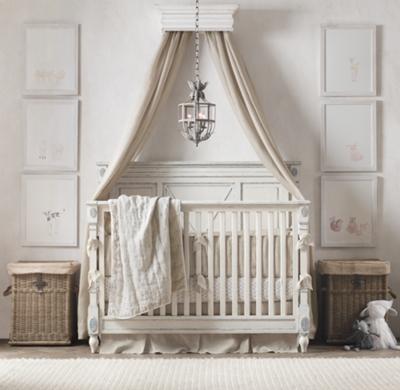 & Vintage Grey Carved Wood Canopy Bed Crown