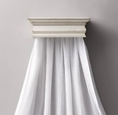 Heirloom White Carved Wood Canopy Bed Crown