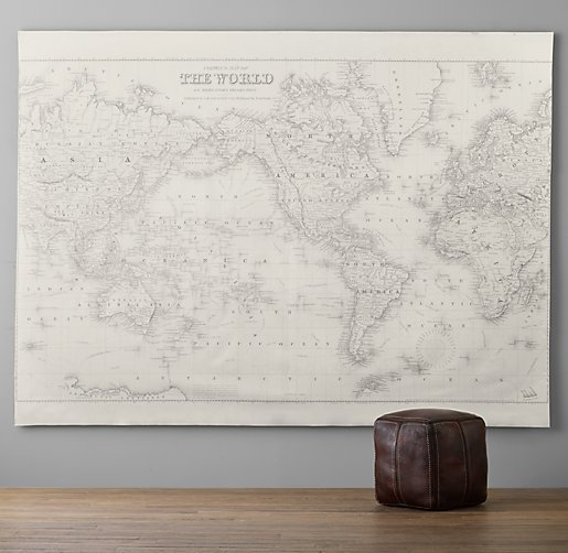 World Map Grand Canvas Wall Tapestry