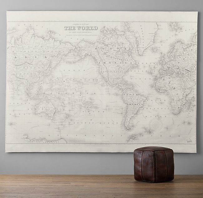 World Map Grand Canvas Wall Tapestry on