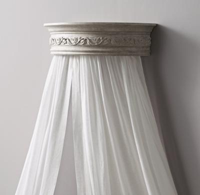 Vintage Grey Demilune Carved Wood Canopy Bed Crown