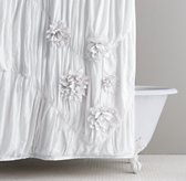 Washed Appliquéd Fleur Shower Curtain