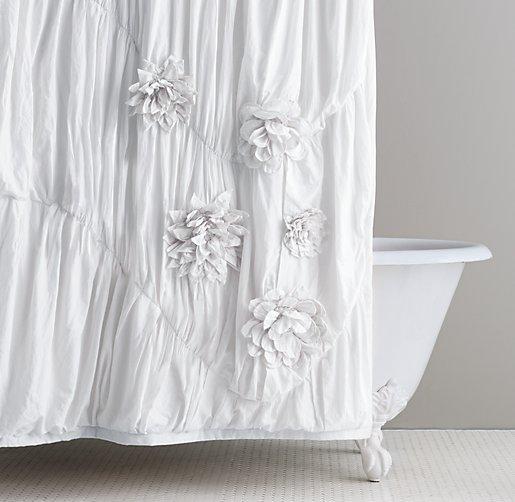 Washed Appliquéd Fleur Shower Curtain. Restoration Hardware ...