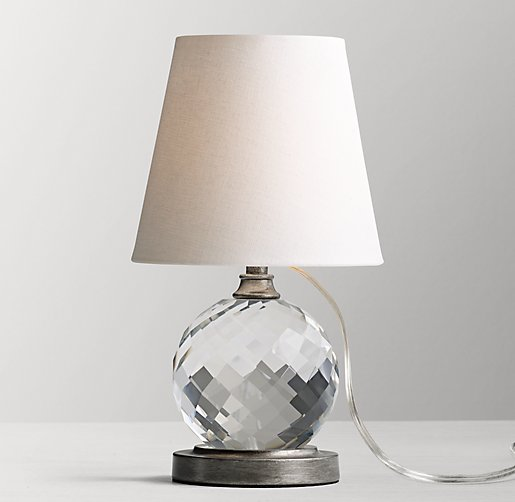 Lourdes crystal ball table lamp with shade aged pewter