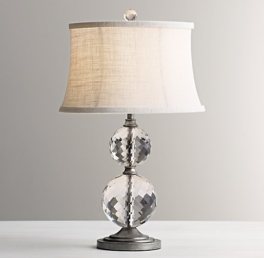Lourdes Stacked Crystal Ball Table Lamp Base Aged Pewter
