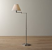 Ellis Swing-Arm Floor Lamp With Shade Antique Pewter