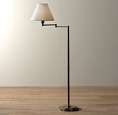 Ellis Swing-Arm Floor Lamp With Shade Chestnut