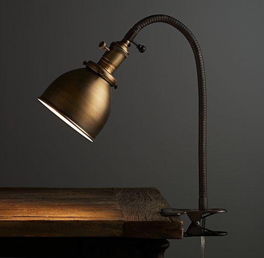 Industrial Era Task Clip Lamp Antique Brass
