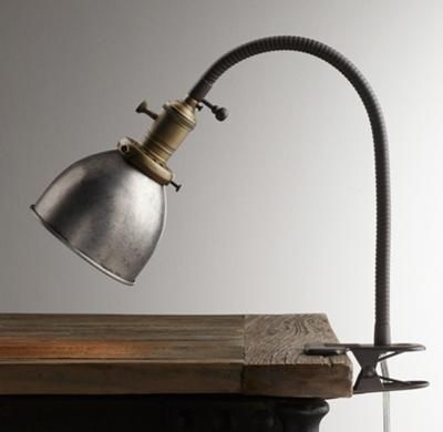 industrial era task clip lamp pewter. Black Bedroom Furniture Sets. Home Design Ideas