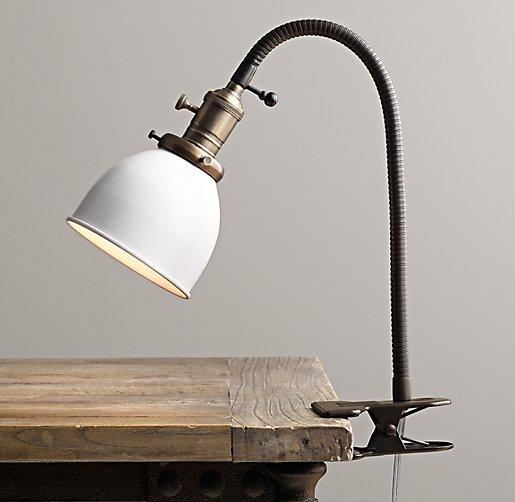 Industrial Era Task Clip Lamp Cream